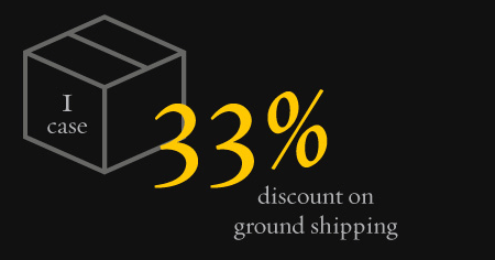 1 Case - 33% discount on ground shipping